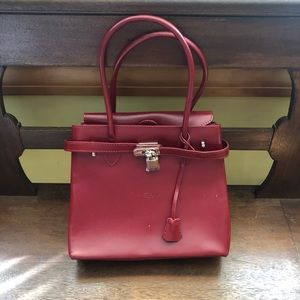 Vintage Italian designer style red purse small-Med